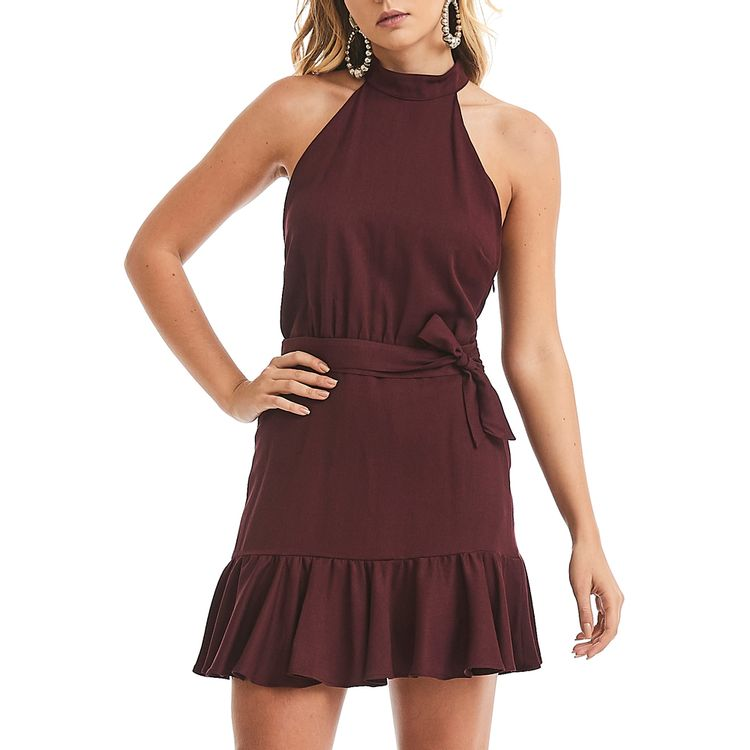 Vestido-Gola-Alta-Vinho
