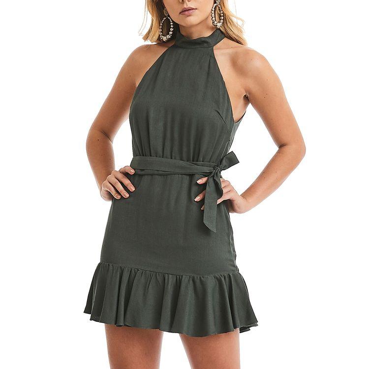 Vestido-Gola-Alta-Verde
